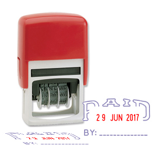 Paid stamp with changeable date