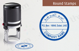 Self Inking Round Company Stamps